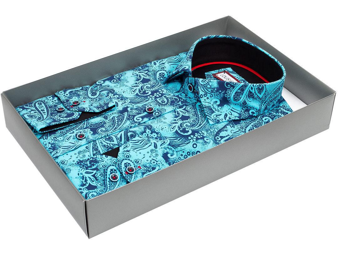 9a4d7a73542 Мужская рубашка Louis Fabel приталенная цвет бирюзовый в восточных огурцах  купить в Москве недорого
