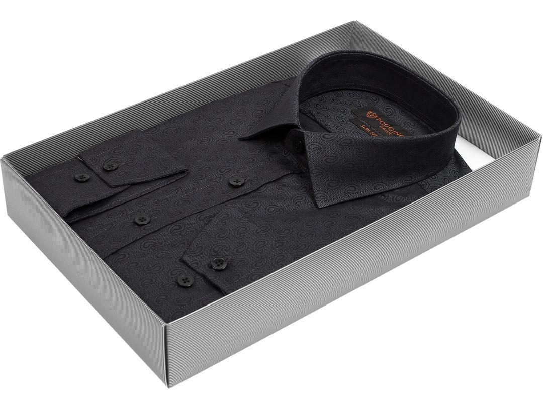 889edf59b49 Мужская рубашка Poggino приталенная цвет темно серый в восточных огурцах  купить в Москве недорого