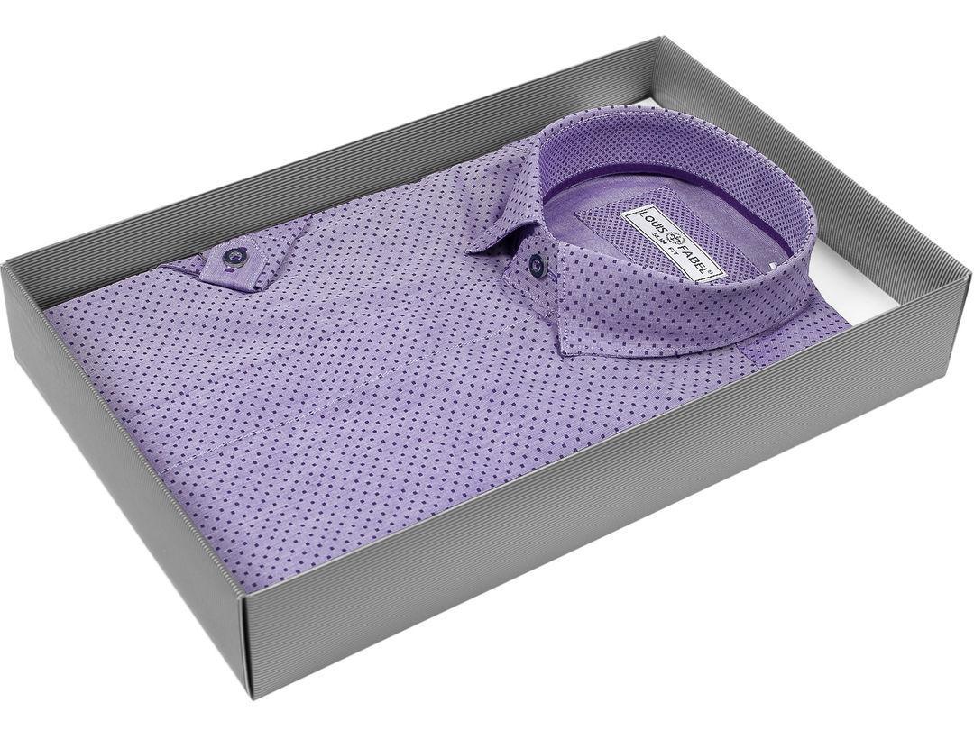 7f5b4ebd3b04bc1 Мужская рубашка Louis Fabel приталенная цвет сиреневый в горошек купить в  Москве недорого