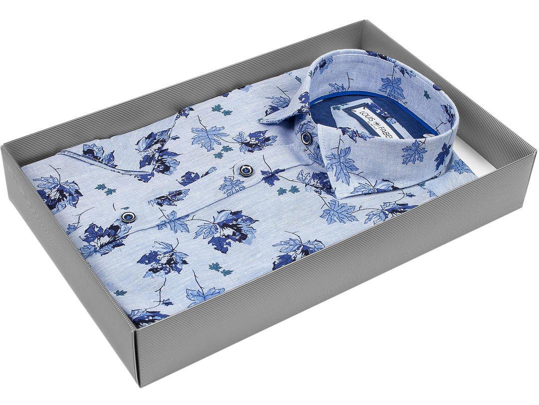937c39b30c1 Мужская рубашка Louis Fabel приталенная цвет голубой в листьях купить в  Москве недорого