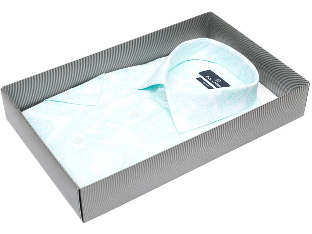 44bd7683f57 Мужская рубашка Poggino приталенная цвет мятный в восточных огурцах купить  в Москве недорого