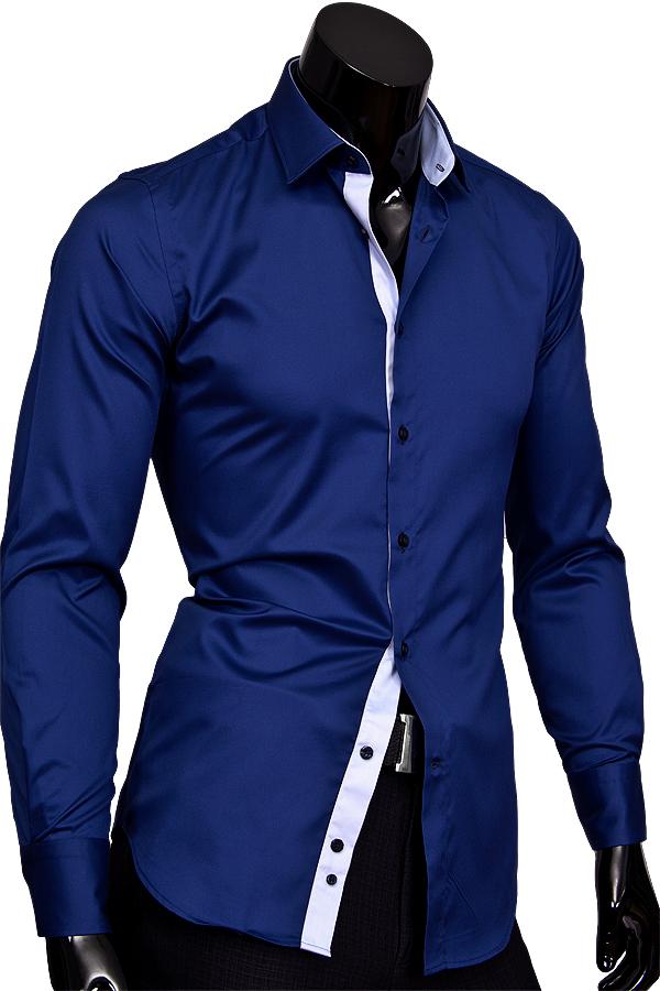 Синяя приталенная мужская рубашка